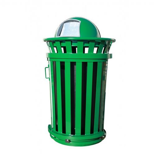 Witt Outdoor Trash Receptacle 36 Gal. Green Steel with Dome Top and Sliding Gate W-M3601SD-DT-GN