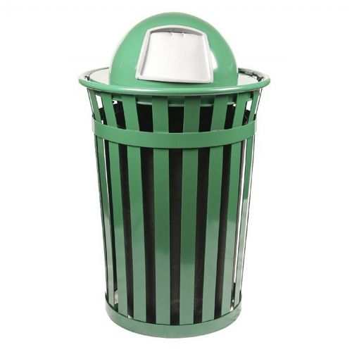 Witt Outdoor Trash Receptacle 36 Gal. Green Steel with Dome Top W-M3601-DT-GN