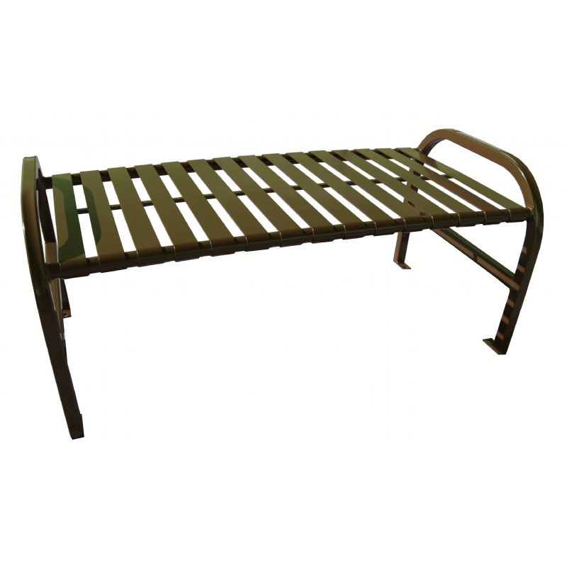 Witt Backless Outdoor Bench Brown Steel 4 Feet Straight