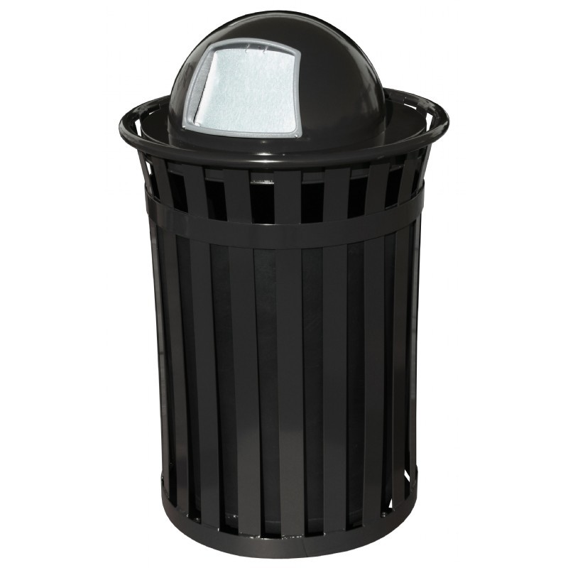Witt Outdoor 50 Gal Trash Receptacle Black Steel With