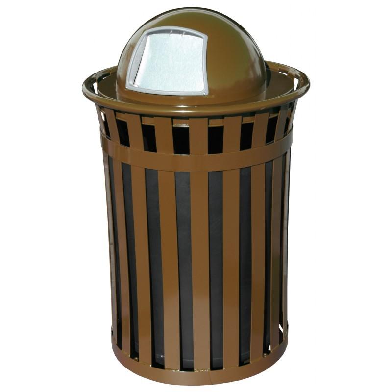 Witt Outdoor 50 Gal Trash Receptacle Brown Steel With