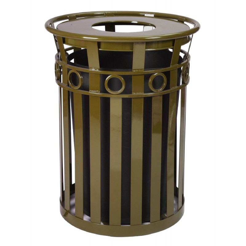 witt outdoor trash receptacle 36 gal brown steel with flat top decorative. Black Bedroom Furniture Sets. Home Design Ideas