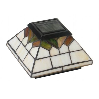 5x5/4x4/3.5x3.5 Stained Glass Wellington Solar Post Cap - Stained Glass WG322