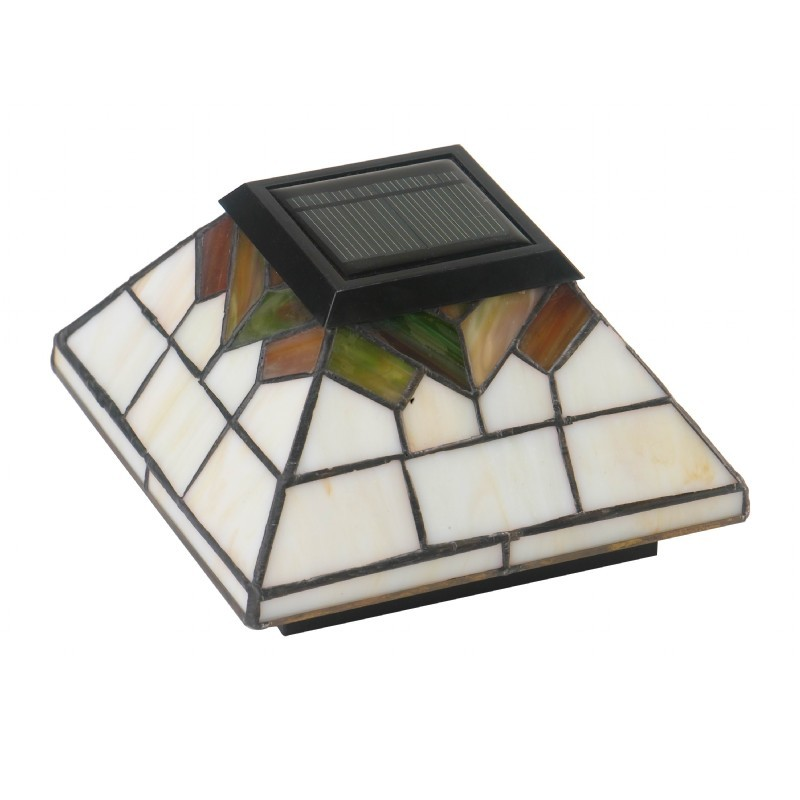 5x5/4x4/3.5x3.5 Stained Glass Wellington Solar Post Cap - Stained Glass