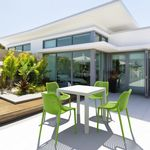 Air Mix Square Dining Set with White Table and 4 Tropical Green Chairs ISP1644S