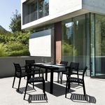 Artemis Resin Rectangle Outdoor Dining Set 7 Piece with Arm Chairs Black ISP1862S
