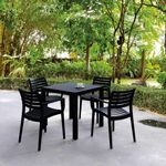 Artemis Resin Square Outdoor Dining Set 5 Piece with Arm Chairs Black ISP1642S