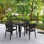 Artemis Resin Square Outdoor Dining Set 5 Piece with Arm Chairs Brown ISP1642S