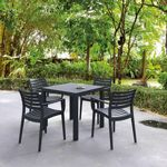 Artemis Resin Square Outdoor Dining Set 5 Piece with Arm Chairs Dark Gray ISP1642S