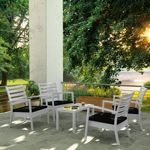 Artemis XL Outdoor Club Seating set 5 Piece Silver Gray with Black Cushion ISP004S5