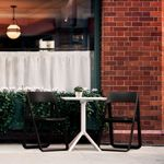 Dream Folding Outdoor Bistro Set with White Table and 2 Black Chairs ISP0791S