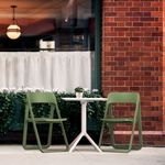 Dream Folding Outdoor Bistro Set with White Table and 2 Olive Green Chairs ISP0791S