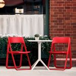 Dream Folding Outdoor Bistro Set with White Table and 2 Red Chairs ISP0791S
