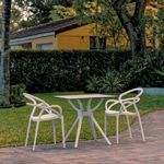 Mila Dining Set with 2 Arm Chairs White ISP0852S