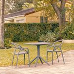 Mila Patio Dining Set with 2 Arm Chairs Dark Gray ISP0853S