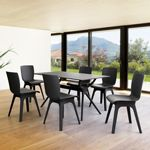 Mio PP Modern Dining Set Black 7 Piece with 55 inch Air Table ISP0941S