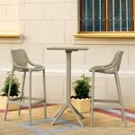 Sky Air Square Bar Set with 2 Barstools Taupe ISP1162S