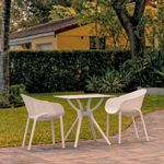 Sky Outdoor Dining Set with 2 Arm Chairs White ISP1024S