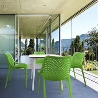 Air Maya Square Outdoor Dining Set with White Table and 4 Tropical Green Chairs ISP6851S