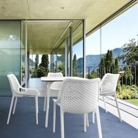 Air Maya Square Outdoor Dining Set with White Table and 4 White Chairs ISP6851S