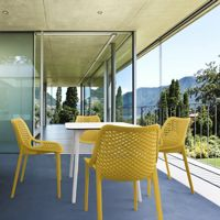 Air Maya Square Outdoor Dining Set with White Table and 4 Yellow Chairs ISP6851S