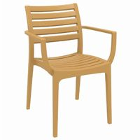 Artemis Resin Outdoor Dining Arm Chair Cafe Latte ISP011