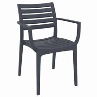Artemis Resin Outdoor Dining Arm Chair Dark Gray ISP011