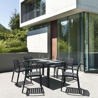 Artemis Resin Rectangle Outdoor Dining Set 7 Piece with Arm Chairs Dark Gray ISP1862S