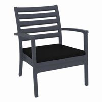 Artemis XL Outdoor Club Chair Dark Gray with Black Cushion ISP004
