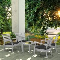 Artemis XL Outdoor Club Seating set 5 Piece Silver Gray with Charcoal Cushion ISP004S5