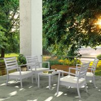 Artemis XL Outdoor Club Seating set 5 Piece Silver Gray with Natural Cushion ISP004S5