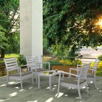 Artemis XL Outdoor Club Seating set 5 Piece Silver Gray with Taupe Cushion ISP004S5