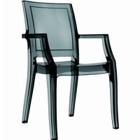 Arthur Transparent Polycarbonate Arm Chair Black ISP053