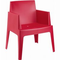 Box Outdoor Dining Chair Red ISP058