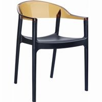 Carmen Dining Armchair Black with Transparent Amber Back ISP059