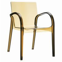Dejavu Clear Plastic Outdoor Arm Chair Amber ISP032
