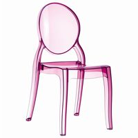 Elizabeth Clear Polycarbonate Outdoor Bistro Chair Pink ISP034