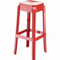 Fox Polycarbonate Outdoor Barstool Glossy Red ISP037