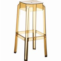 Fox Polycarbonate Outdoor Barstool Transparent Amber ISP037