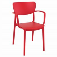 Lisa Outdoor Dining Arm Chair Red ISP126