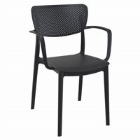 Loft Outdoor Dining Arm Chair Black ISP128