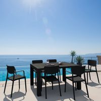 Loft Outdoor Dining Set with 6 Arm Chairs and 55 inch Extension Table Black ISP1281S