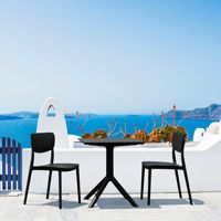 Lucy Outdoor Bistro Set 3 Piece with 24 inch Table Top Black ISP1291S