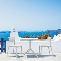 Lucy Outdoor Bistro Set 3 Piece with 24 inch Table Top White ISP1291S