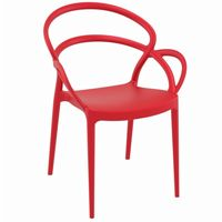 Mila Outdoor Dining Arm Chair Red ISP085
