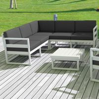 Mykonos Corner Sectional 5 Person Lounge Set White with Sunbrella Charcoal Cushion ISP134