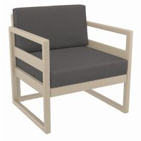 Mykonos Patio Club Chair Taupe with Sunbrella Charcoal Cushion ISP131