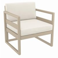 Mykonos Patio Club Chair Taupe with Sunbrella Natural Cushion ISP131