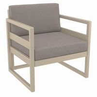 Mykonos Patio Club Chair Taupe with Sunbrella Taupe Cushion ISP131