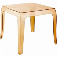 Queen Polycarbonate Square side Table Transparent Amber ISP065